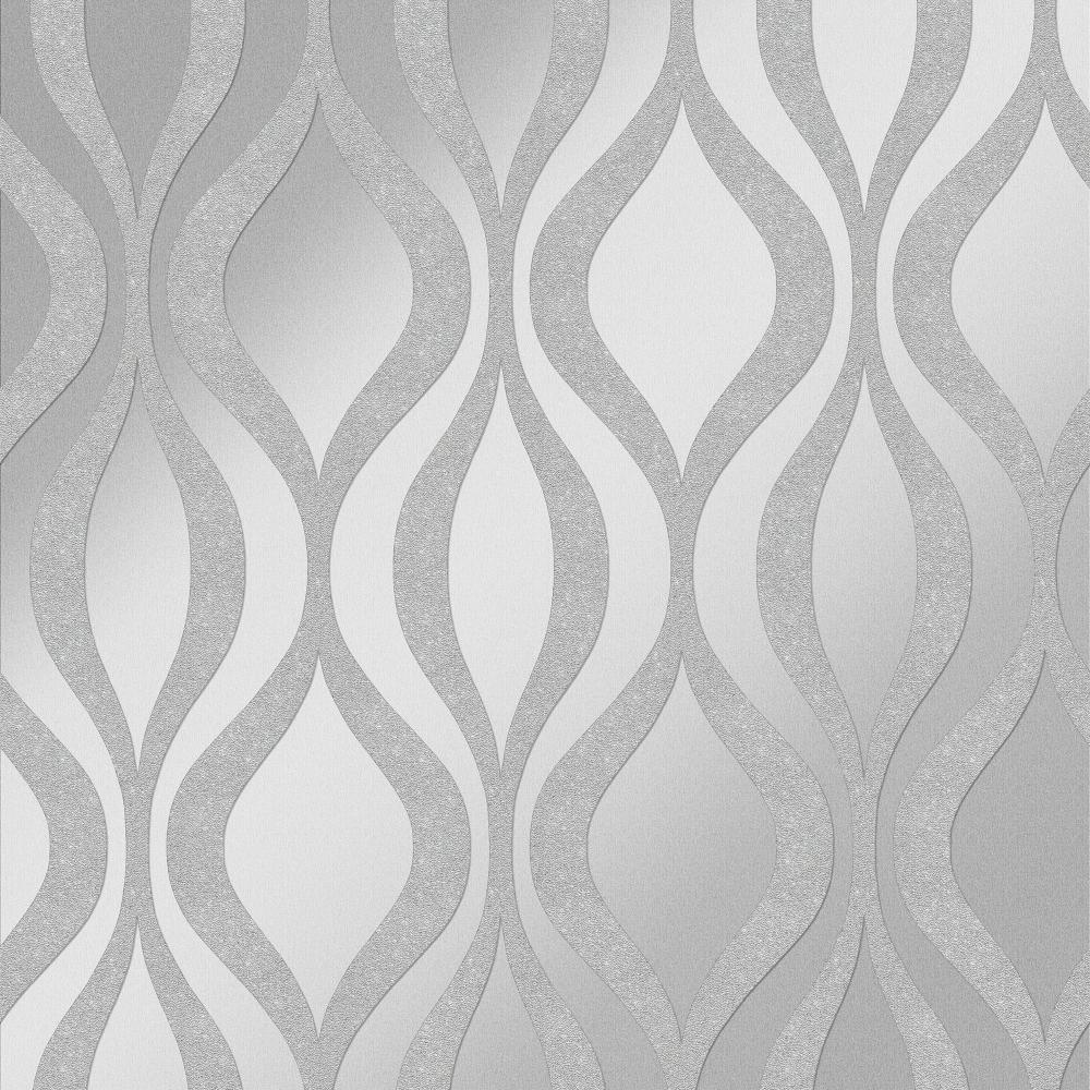 Kensington Textured Geometric Speedyhang Wallpaper Silver ...