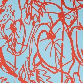 Kew Hand Screen Printed Floral Drawings Wallpaper Turquoise Red