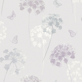 Kitty Motif Floral Wallpaper Natural (259101)
