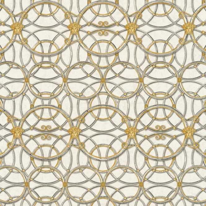 Versace La Scala Del Palazzo Geometric Wallpaper Grey