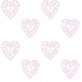 Lace Hearts Childrens Wallpaper White Pink