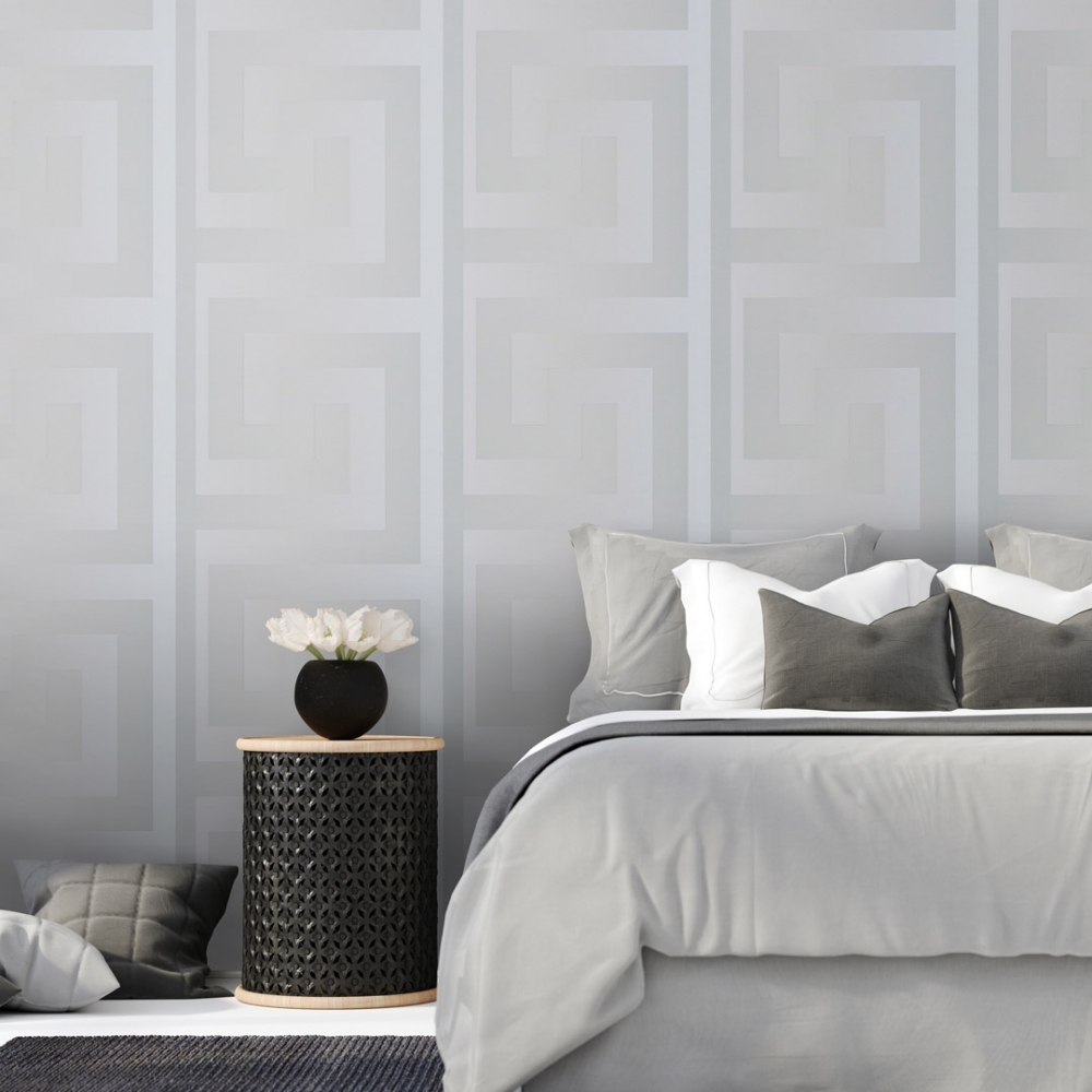 Large Greek Key Wallpaper Silver Wallpaper From I Love Wallpaper Uk