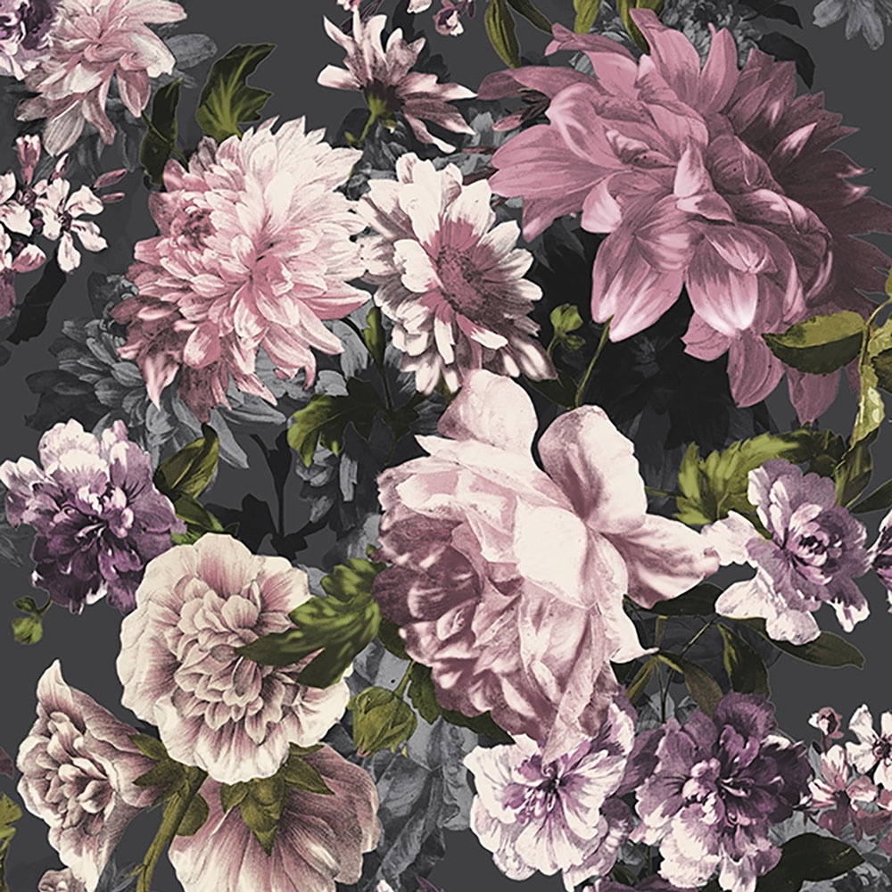 Lavina Floral Wallpaper Black Purple Wallpaper From I Love