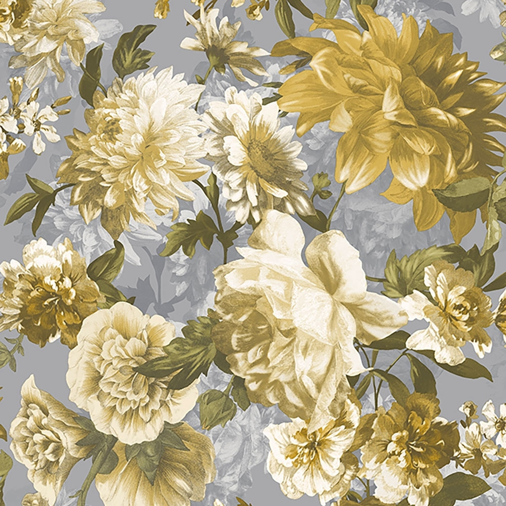 Lavina Floral Wallpaper Yellow Grey Wallpaper From I Love