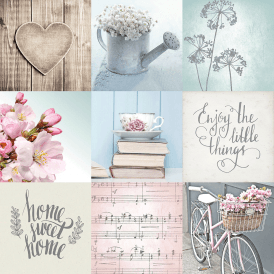 Lazy Days Wallpaper Blue Pink Beige