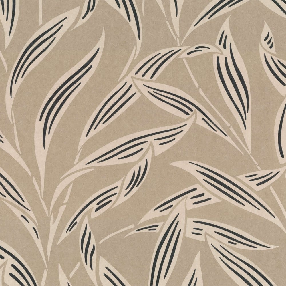 Buy casadeco lelia wallpaper beige black cream for Black and cream wallpaper