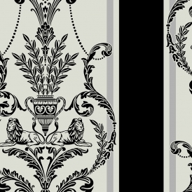 Leonardo Damask / Stripe Flock Wallpaper Neo Black