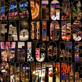 Letters From Las Vegas City Wallpaper Black / Multi Coloured (102525)