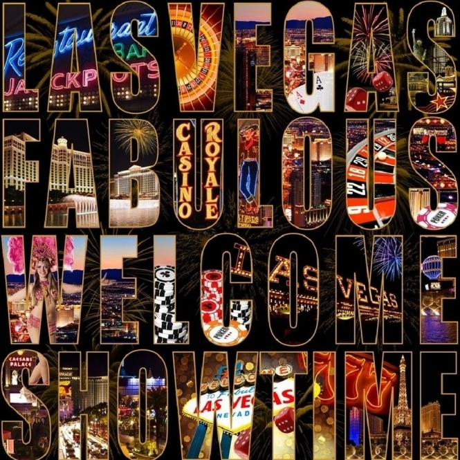 Muriva Letters From Las Vegas City Wallpaper Black, Multicoloured (102525)
