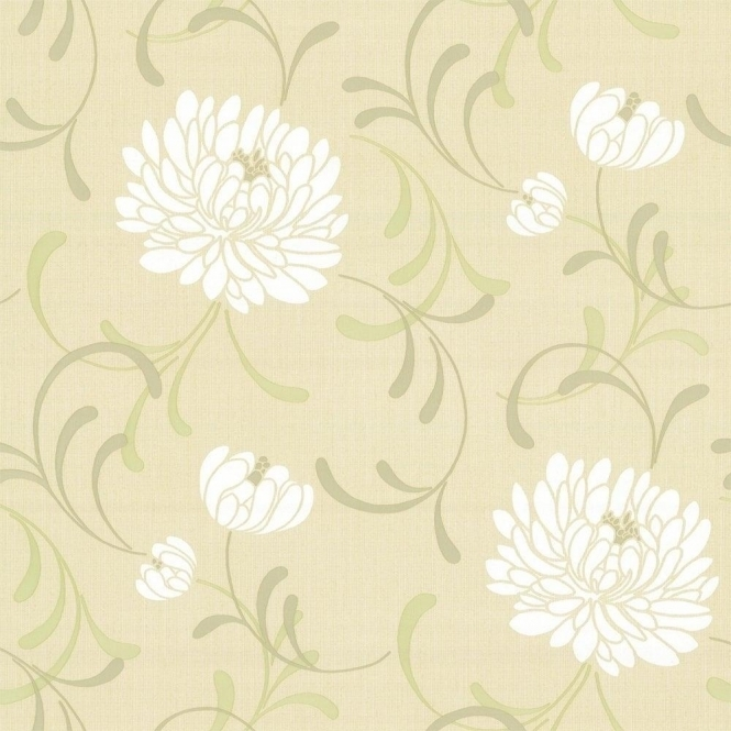 Crown Linen Floral Wallpaper Lemon (M0190)