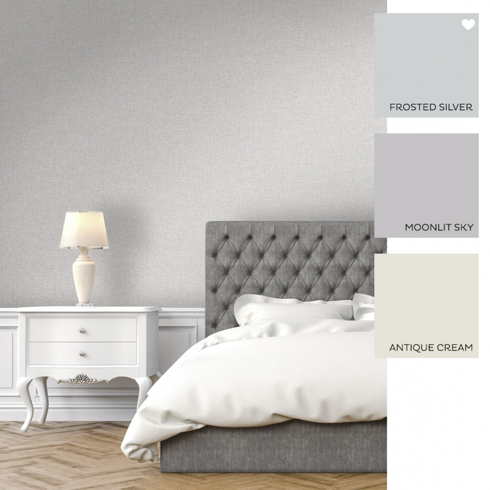 Linen Texture Fabric Effect Wallpaper Light Grey
