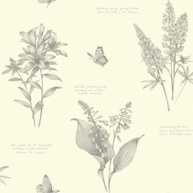 Linnaeus Floral Wallpaper Dove (664400)