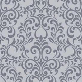 Luxe Damask Glitter Wallpaper Charcoal (144804)