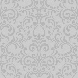 Luxe Damask Glitter Wallpaper Silver (144801)