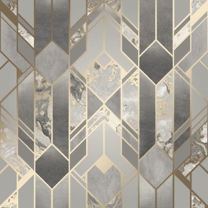 Liquid Marble Geometric Wallpaper Grey Gold Wallpaper