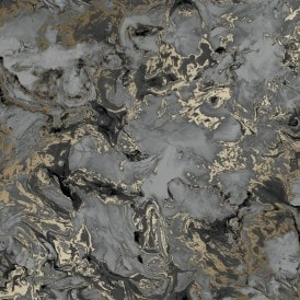 Liquid Marble Wallpaper Charcoal Gold