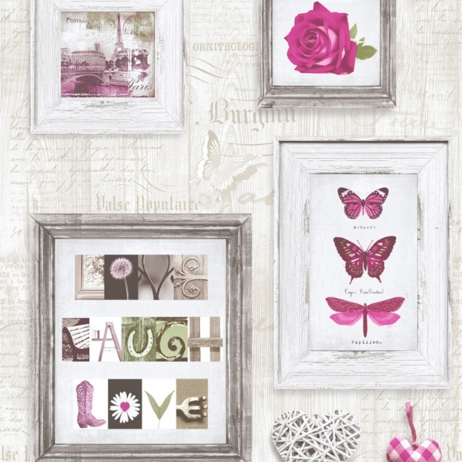 Muriva Live Laugh Love Frames Wallpaper Pink / Cream (131501)