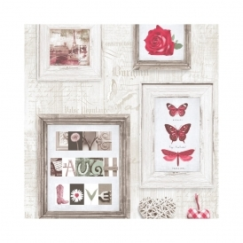Live Laugh Love Frames Wallpaper Red, Cream (131503)