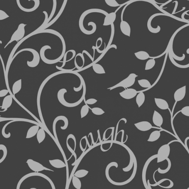Live Love Laugh Scroll Wallpaper Black, Silver (FD40287)