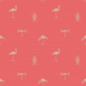 Lochs & Lagoons Lakeside Insect Flamingo Wallpaper Coral