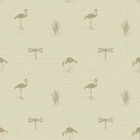 Lochs & Lagoons Lakeside Insect Flamingo Wallpaper Taupe