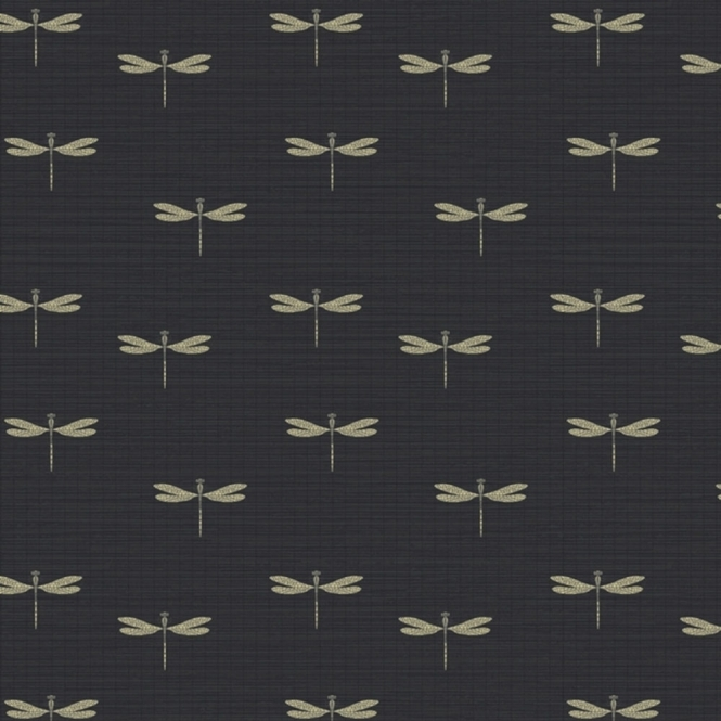 Arthouse Lochs & Lagoons Waters Edge Dragonfly Wallpaper Black