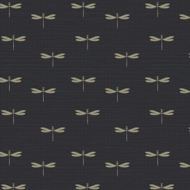 Lochs & Lagoons Waters Edge Dragonfly Wallpaper Black