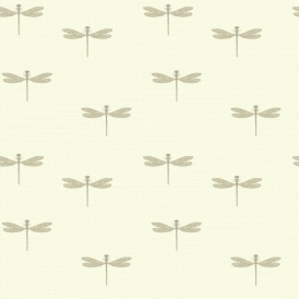 Lochs & Lagoons Waters Edge Dragonfly Wallpaper Cream
