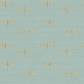 Lochs & Lagoons Waters Edge Dragonfly Wallpaper Soft Blue