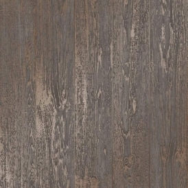 Loft Wood Metallic Wallpaper Brown