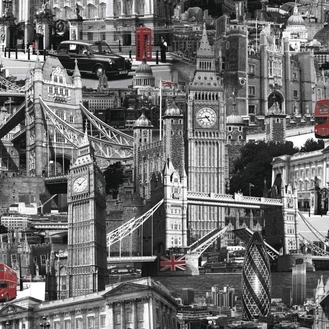 Muriva London City Wallpaper Black / White / Red (102501)