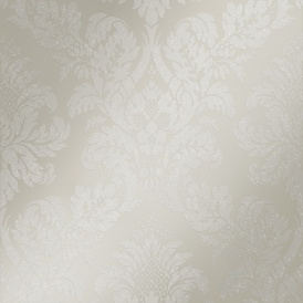 London Damask Wallpaper Pewter