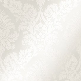 London Damask Wallpaper White