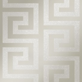London Greek Key Wallpaper Pewter