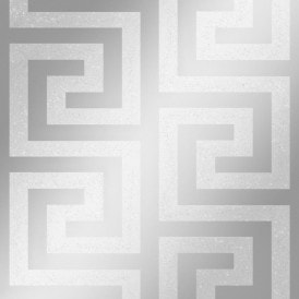 London Greek Key Wallpaper Silver