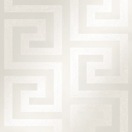 London Greek Key Wallpaper White