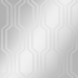 London Hex Wallpaper Silver