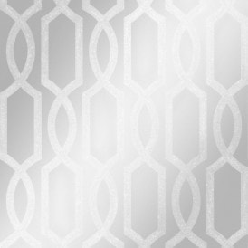 London Trellis Wallpaper Silver