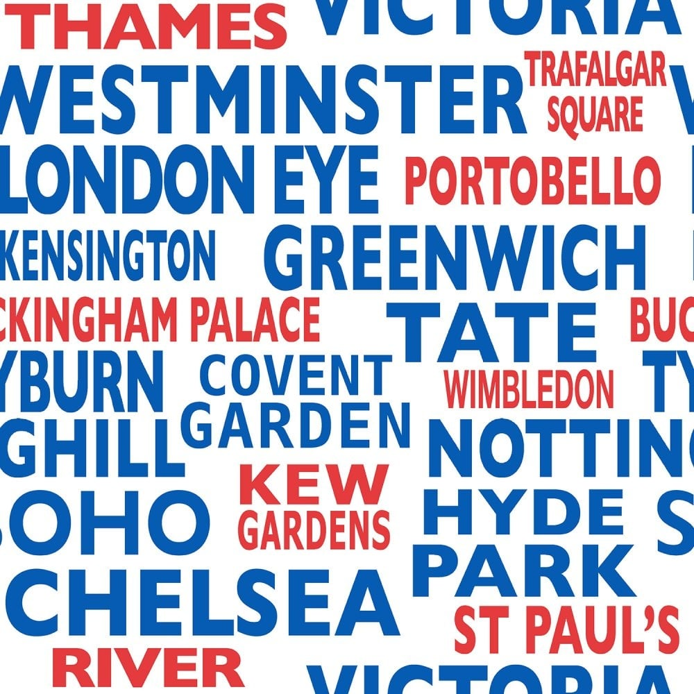 Crown London Words Bold Wallpaper Blue Red White M0693