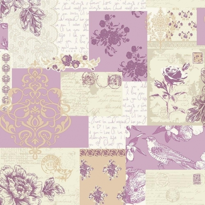 Coloroll Love Letters Wallpaper Lavender (M0815)