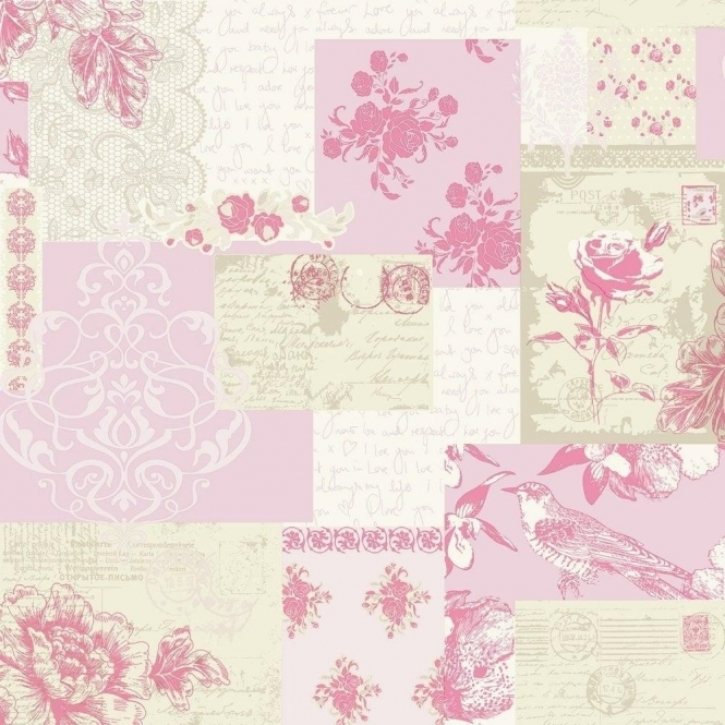Coloroll Love Letters Wallpaper Old Rose (M0816)