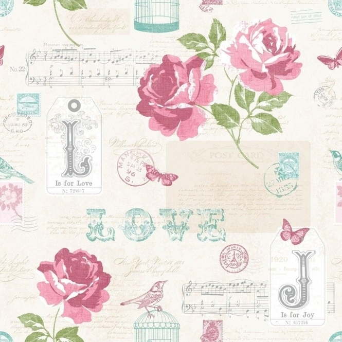 Muriva Love Sonnet Rose Wallpaper Pink / Silver / Green (133501)