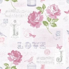 Love Sonnet Rose Wallpaper Purple / Silver (133504)