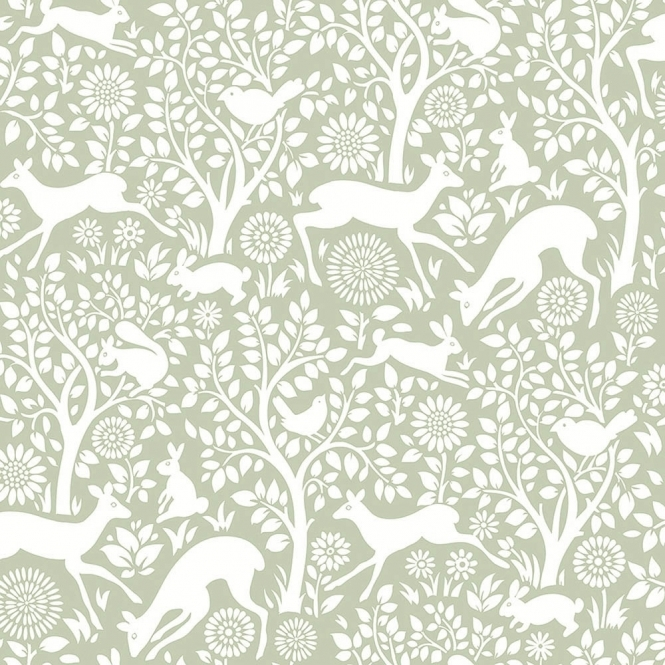 Lucie Annabel Wildlife Animal Wallpaper Green