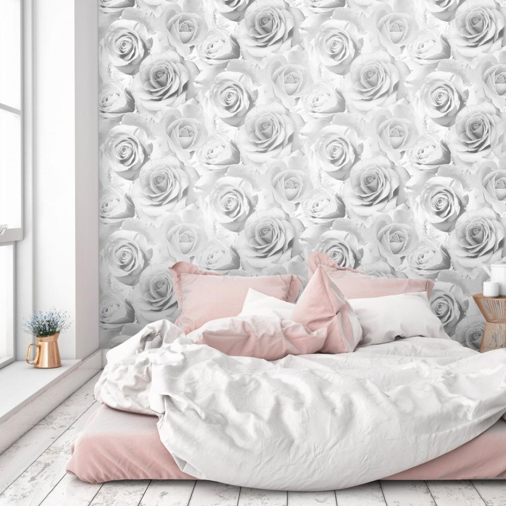Madison Rose Wallpaper Soft Grey