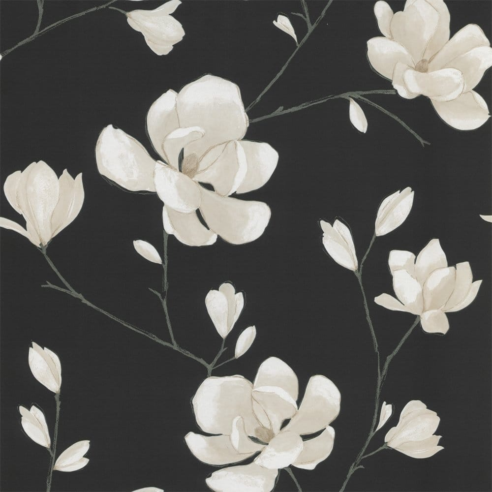 Designer selection magnolia wallpaper black cream for Black and cream wallpaper