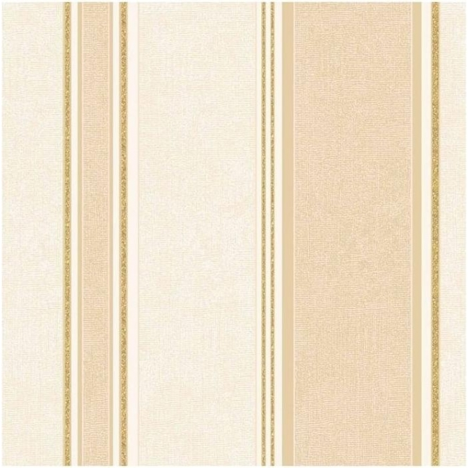 Crown Mallory Stripe Textured Vinyl Wallpaper Gold (M0918)
