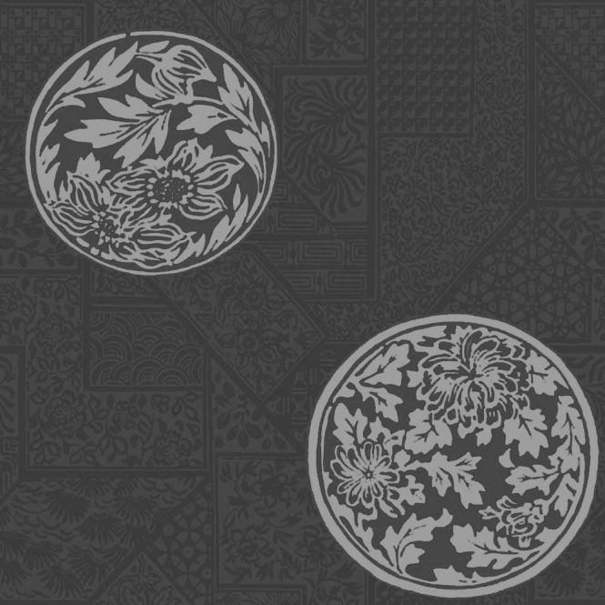 Crown Mandarin Jet Geometric Wallpaper Silver / Black (M0527)