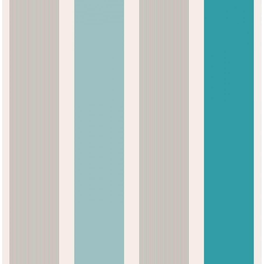 Fine decor mangum striped wallpaper teal silver white for Striped kitchen wallpaper