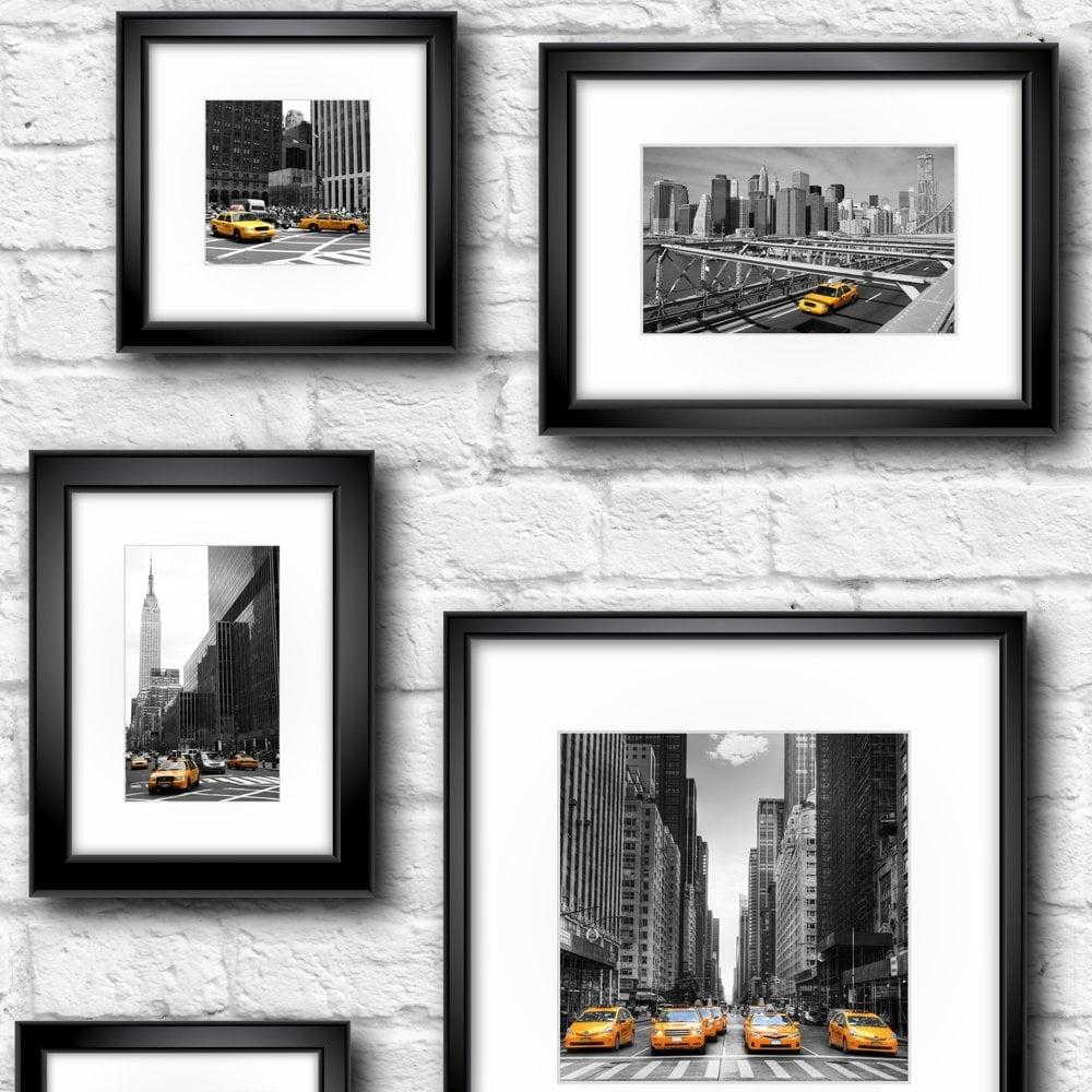 Manhattan In Frame Wallpaper Black Yellow White